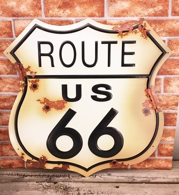 Route US 66 Shield Rustic