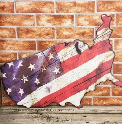 USA Embossed Map Flag