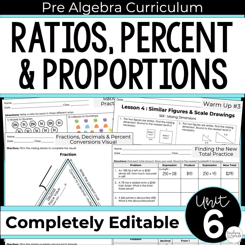 Ratios Proportions And Percents Unit For Pre Algebra