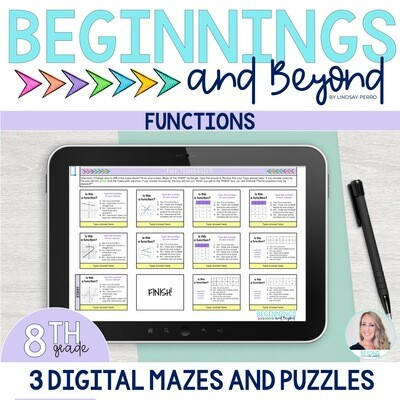 8th Grade Functions Digital Maze and Puzzle Bundle