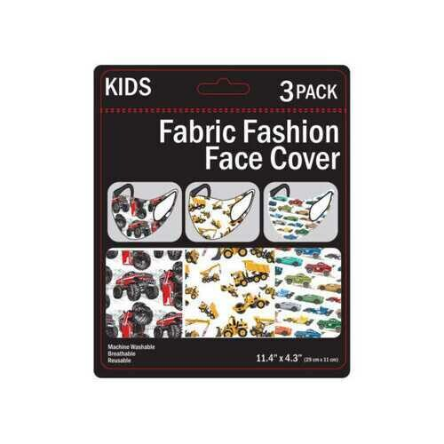 3 Pack Boys Vehicles Washable Face Masks 3 Assorted ( Case of 100 )