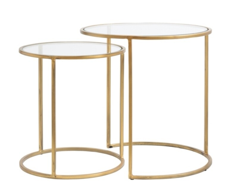 gold glass side tables set of 2