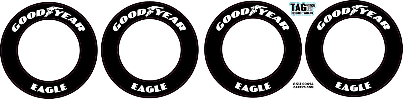 GoodYear Eagle | White Lettering | CRC Rubber Tire Side Wall Decals