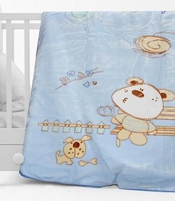Κουβέρτα Βελουτέ Κούνιας 1000 Μπλε - Sunshine