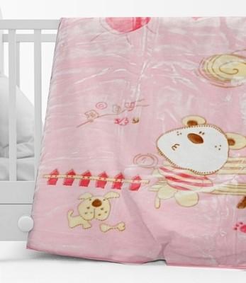 Κουβέρτα Βελουτέ Κούνιας 1000 Ροζ - Sunshine