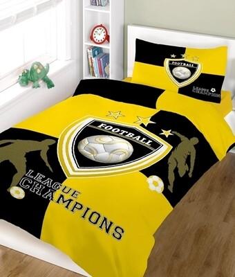 Παπλωματοθήκη Μονή Champions Yellow-White Cotton Line