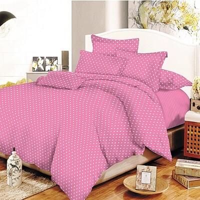 Παπλωματοθήκη Υπέρδιπλη Cotton Line Dots Pink - Komvos