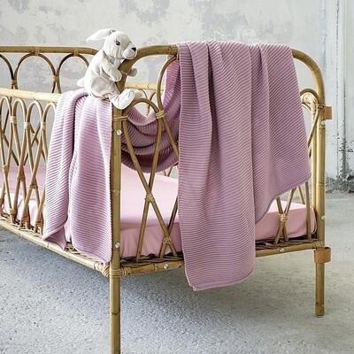 Κουβέρτα Κούνιας Wool Πλεχτή Pile Pink - Nima Home