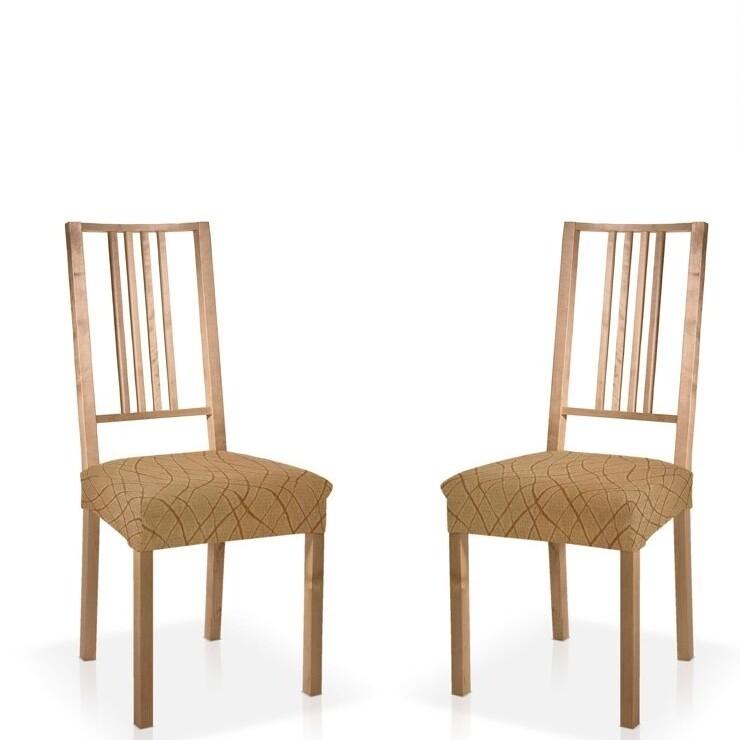 Σετ 2 τεμ. Κάλυμμα Κάθισμα Καρέκλας Ελαστικό Waves Μπεζ - Mc Decor