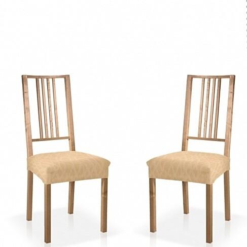Σετ 2 τεμ. Κάλυμμα Κάθισμα Καρέκλας Ελαστικό Waves Εκρού - Mc Decor