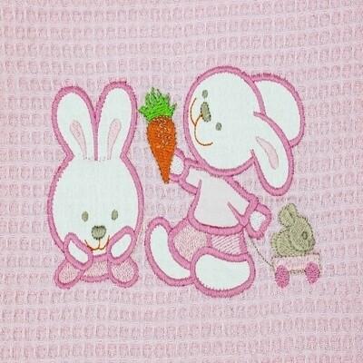 Κουβέρτα Πικέ Κούνιας  Bunnies Pink - Adam Home