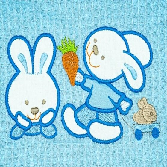 Κουβέρτα Πικέ Λίκνου  Bunnies Blue - Adam Home