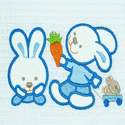 Κουβέρτα Πικέ Κούνιας  Bunnies White-Blue - Adam Home