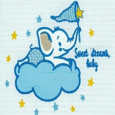 Κουβέρτα Πικέ Κούνιας  Elephant White-Blue - Adam Home