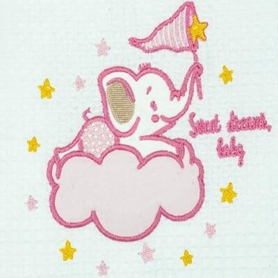Κουβέρτα Πικέ Λίκνου Elephant White-Pink - Adam Home