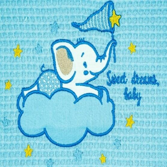Κουβέρτα Πικέ Λίκνου Elephant Blue - Adam Home