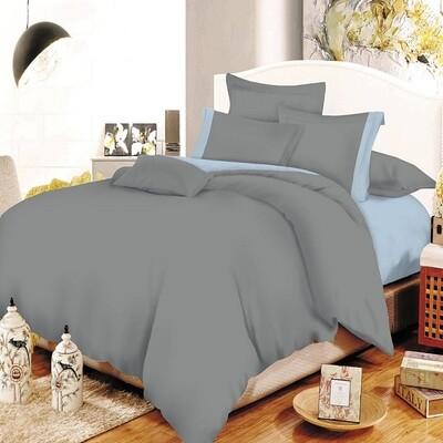 Παπλωματοθήκη Διπλή Cotton Line Gray-Baby Blue - Komvos