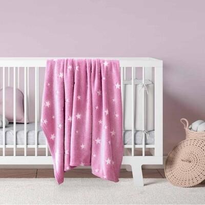 Κουβέρτα Φωσφοριζέ Λίκνου Fleece Glow Star Pink - Kocoon