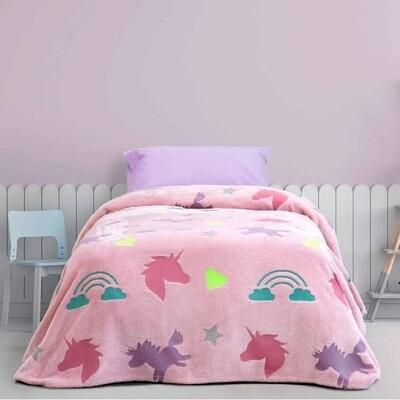 Κουβέρτα Φωσφοριζέ Μονή Fleece Shiny Unicorn - Kocoon