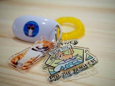 Pip the Beach Cat Keychain Set (Clicker Not Included)