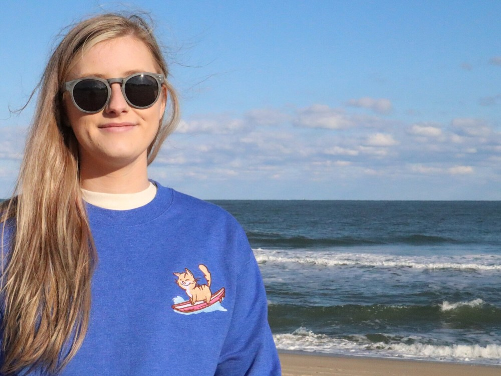 Heather Blue Pip the Beach Cat Embroidered Surfing Sweatshirt