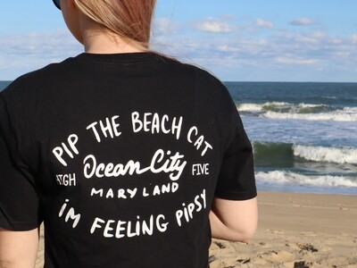 Pip the Beach Cat Text Logo T-Shirts