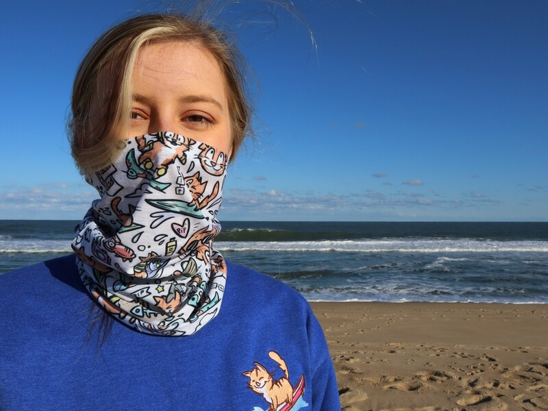 Blue or White Pip the Beach Cat Versatile Neck Gaiter Buff
