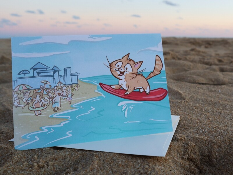 Pip the Beach Cat Boogie Boarding Greeting Card