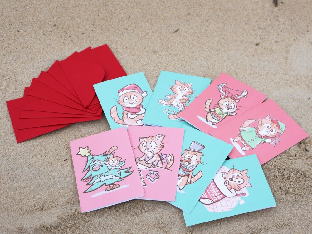 Colorful Christmas Greeting Cards with Red Envelope and Sticker Sheet