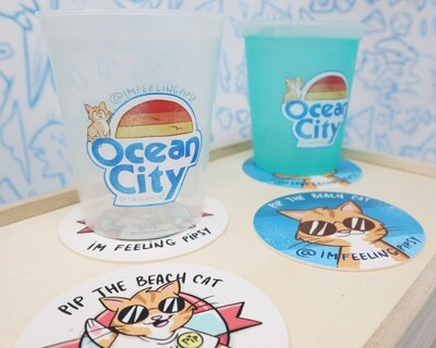 Ocean City Color Changing Cups with Coasters