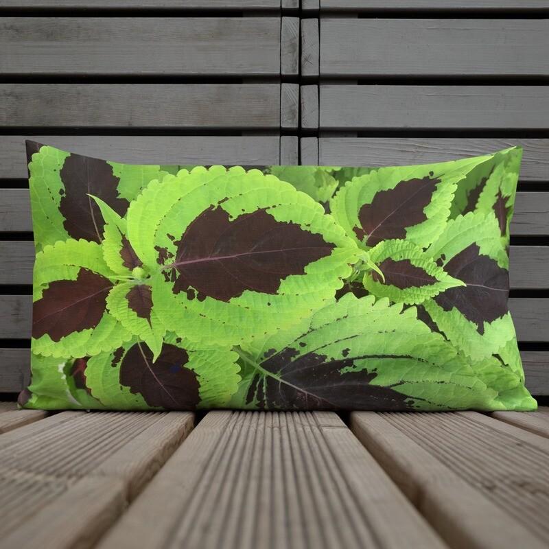 Green Coleus Leaf Print Premium Pillow