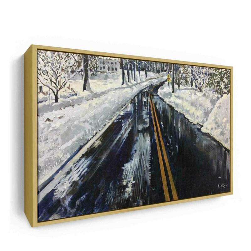 Snowy Street in Riverside | Original Oil Painting