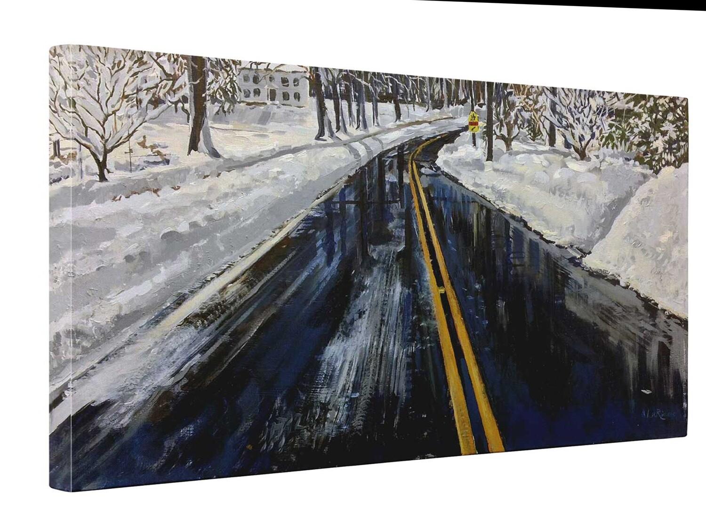 Snowy Street   Print on Canvas