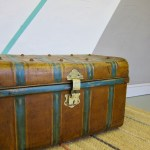 Metal Trunk Vintage 1930s Coffee Table Toy Box Chest
