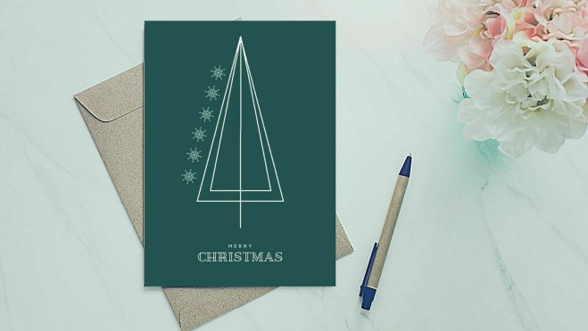 Holiday Greeting Card - Simple Triangle Tree
