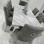 Laveda 140cm Light Grey Marble Dining Table Canterbury Velvet Chairs