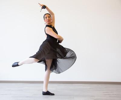 Falda de ensayo Ballet Escuela Bolera color negra, palo de rosa, lila, morada (talla única)