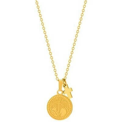 Natalie Gersa Steel Necklace engraved both side ICXC NIKA cross & St. Const. & Helen
