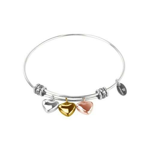 Natalie Gersa Steel Bracelet Hearts Three Tone