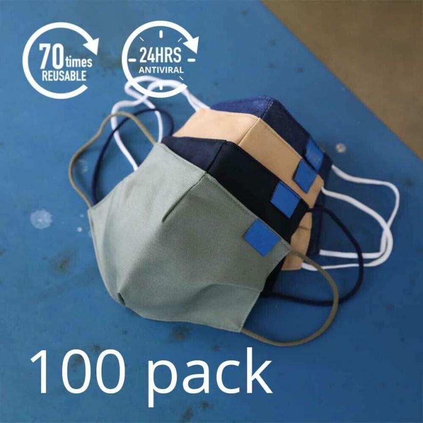 100 x AM99™ Antiviral Antibacterial Reusable Face-mask - 18% Discount + FREE Shipping
