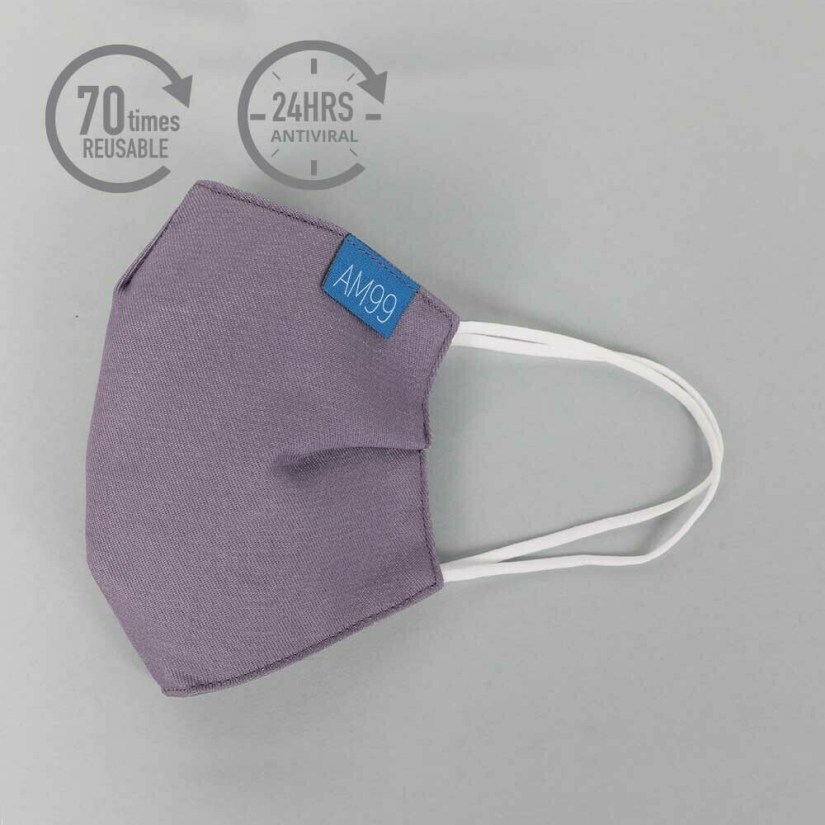 Face Mask AM99™ Antiviral Antibacterial Reusable 70 times - Purple