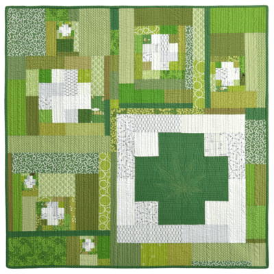 Green Cross Series Wall Quilt No.2