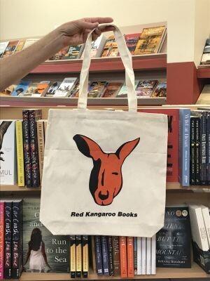 Red Kangaroo Book Cotton Tote Bag
