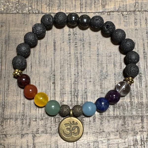 Chakra Balancing Bracelet: Antique Gold Om