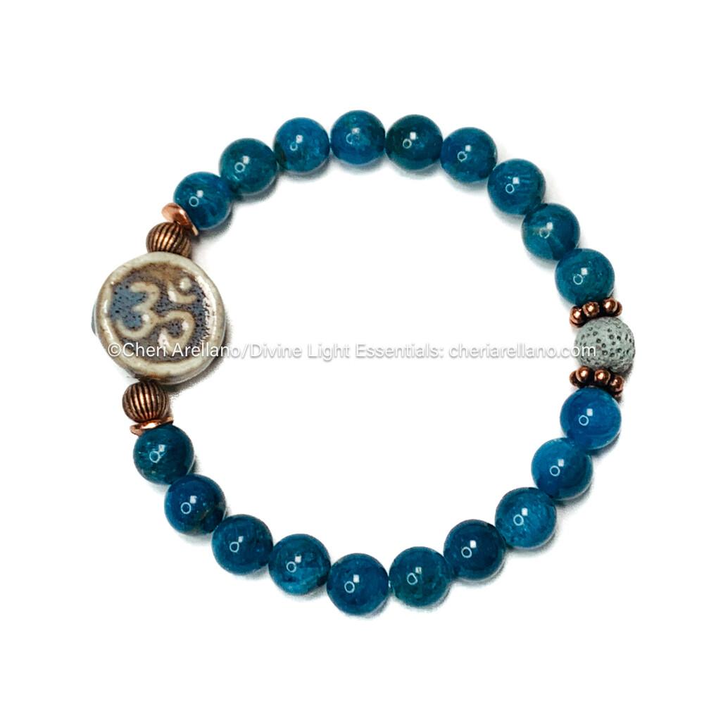 Apatite Bracelet: Om Pendant