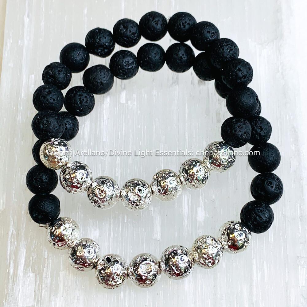 Silver & Black Lava Bead Bracelet