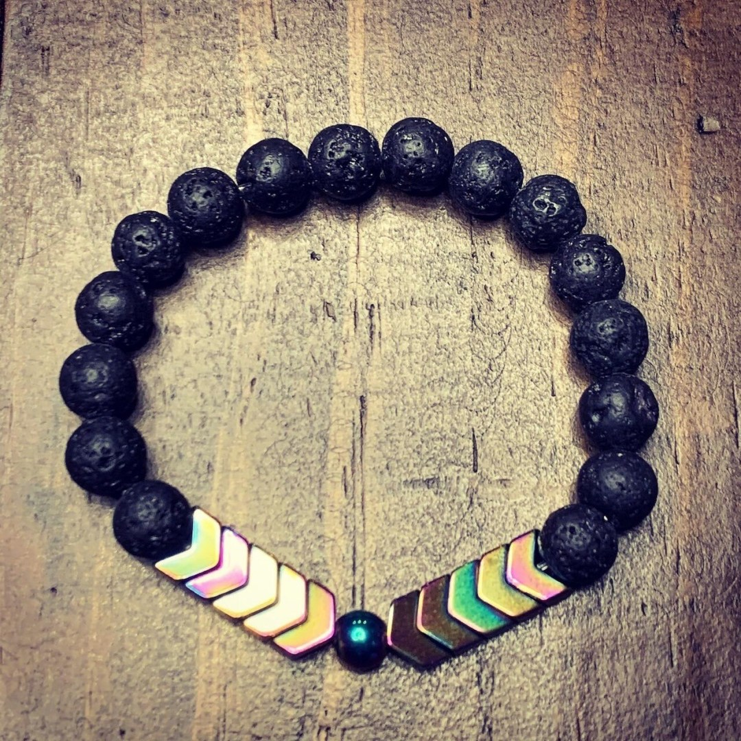 Hematite Arrows & Lava Bead Bracelet