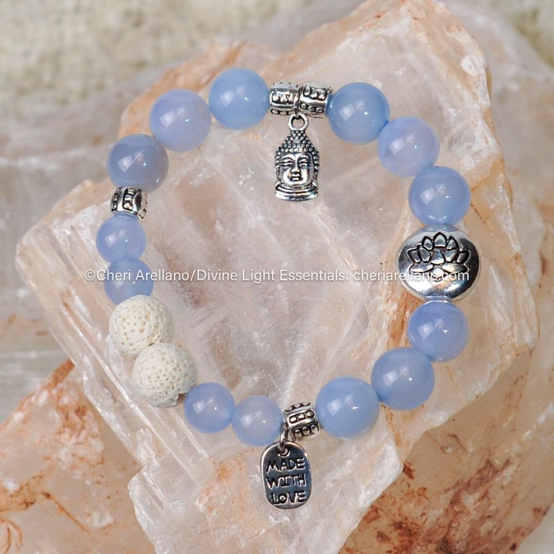 Blue Chalcedony Silver Buddha Lotus Bracelet