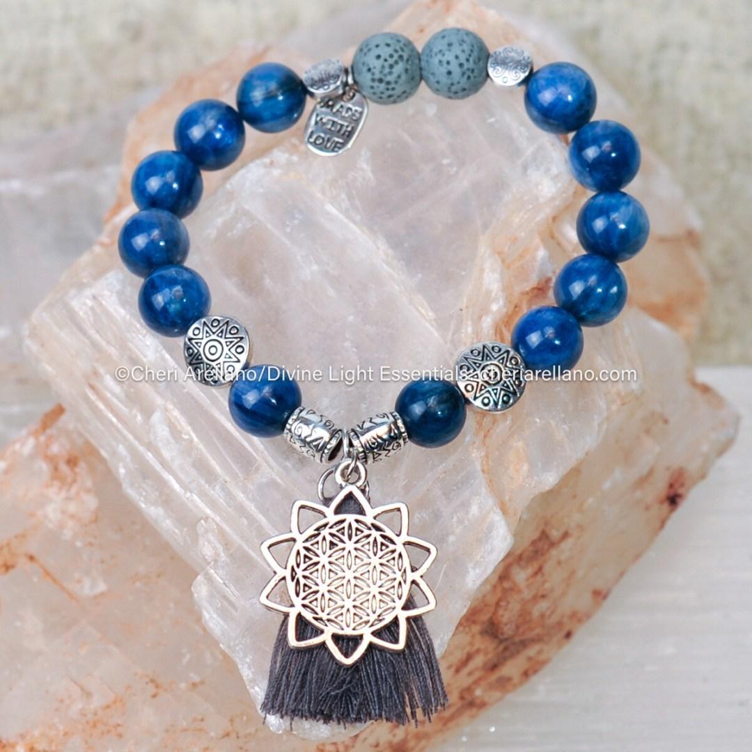Kyanite & Silver Sun Tassel Bracelet (gift set option)
