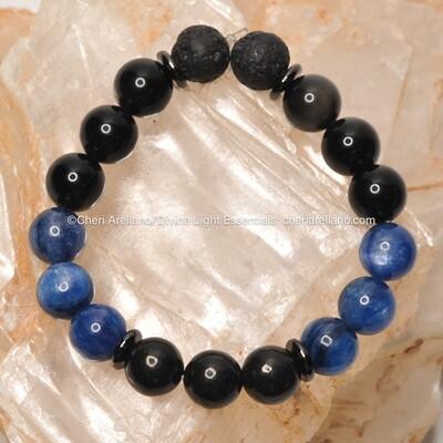 Kyanite, Shungite & Black Obsidian Earth Sky Bracelet